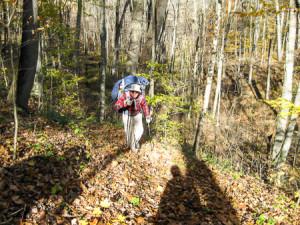 Jim navigates steep hill