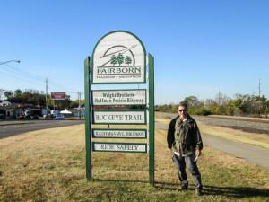 Wright Brothers' Huffman Prairie Bikeway is behind CW