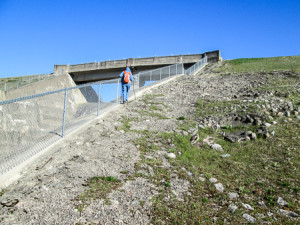100-foot climb to the top of Lockington Dam