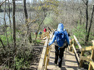 Hikers descending to the trail on steps built as an Eagle Scout project