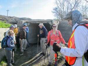 The day's hike began by walking through a box culvert