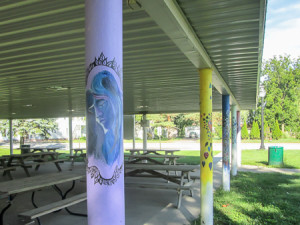 Painted shelter posts at Lusher Park in Haskins