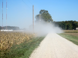 Dust from a vehicle on a gravel section of TR 148