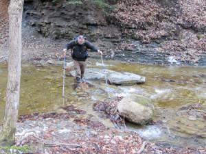 Richard carefully fording a stream