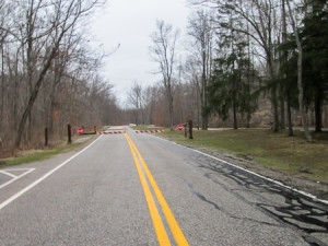 Park road closing for amphibian crossing