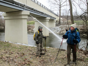 Treated water from Akron Composting Plant being released into Cuyahoga River