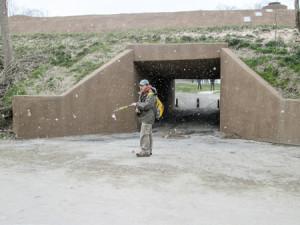 Leaving the Towpath Trail through a concrete culvert