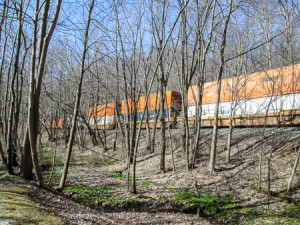 Double stacked railroad cars